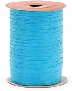 Berwick Offray Matte Turquoise Raffia Ribbon, 1/4'' Wide, 100 Yards