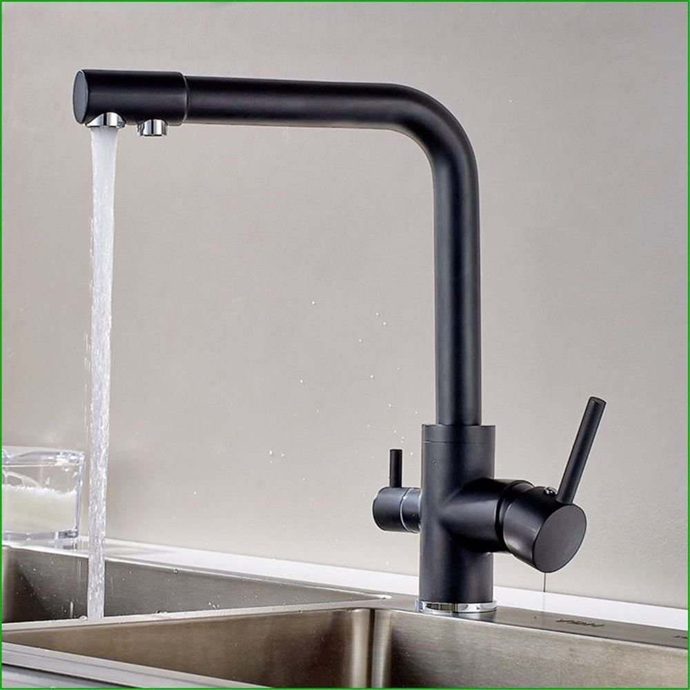 Amazon Com Hlluya Professional Sink Mixer Tap Kitchen Faucet The Copper Black Spray Paint Two Water Dual Head Kitchen Faucet Sink Faucet Home Kitchen
