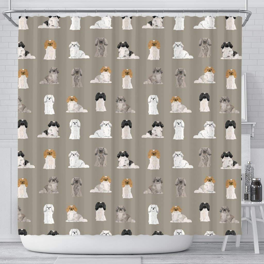 Paws With Attitude Pekingese Dog Pattern Print Shower Curtains by Paws With Attitude
