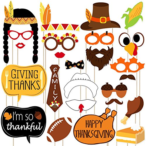 BESTOYARD Thanksgiving Party Photo Booth Props Give Thanks Signs Thanksgiving Day Party Decorations Happy Thanksgiving Party Supplies 25PCS
