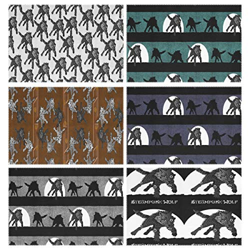 Placemats Set of 6, Steampunk Wolfpack Black Wolves White Texture LARGE Running Stripe Teal Panel Stripes Midnight Thunder Gray Banner 1 Yard Centered Dining Table Mats for Home Kitchen Office ()