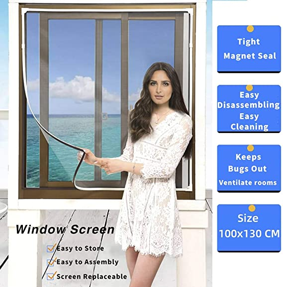 White Fly Screen Mosquito Net for Windows EXTSUD 150 x 150 cm Fly Window Screen Mesh Insect Netting Bug Bee Mosquito with Click-On Install Magnetic Stripe