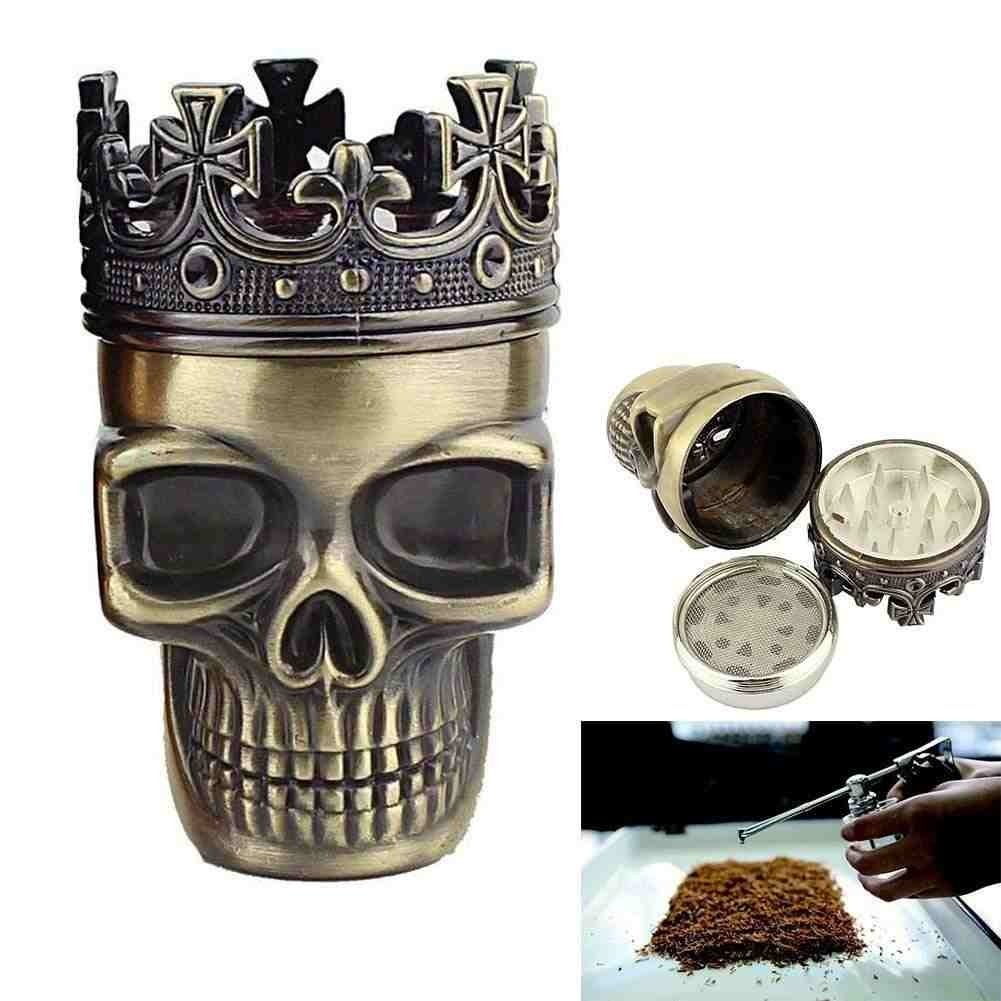 Grinder in the shape of a Skull - Crowned King| For Spice, Coffee, Herbs, Spices | Color: Bronze by RIVENBERT