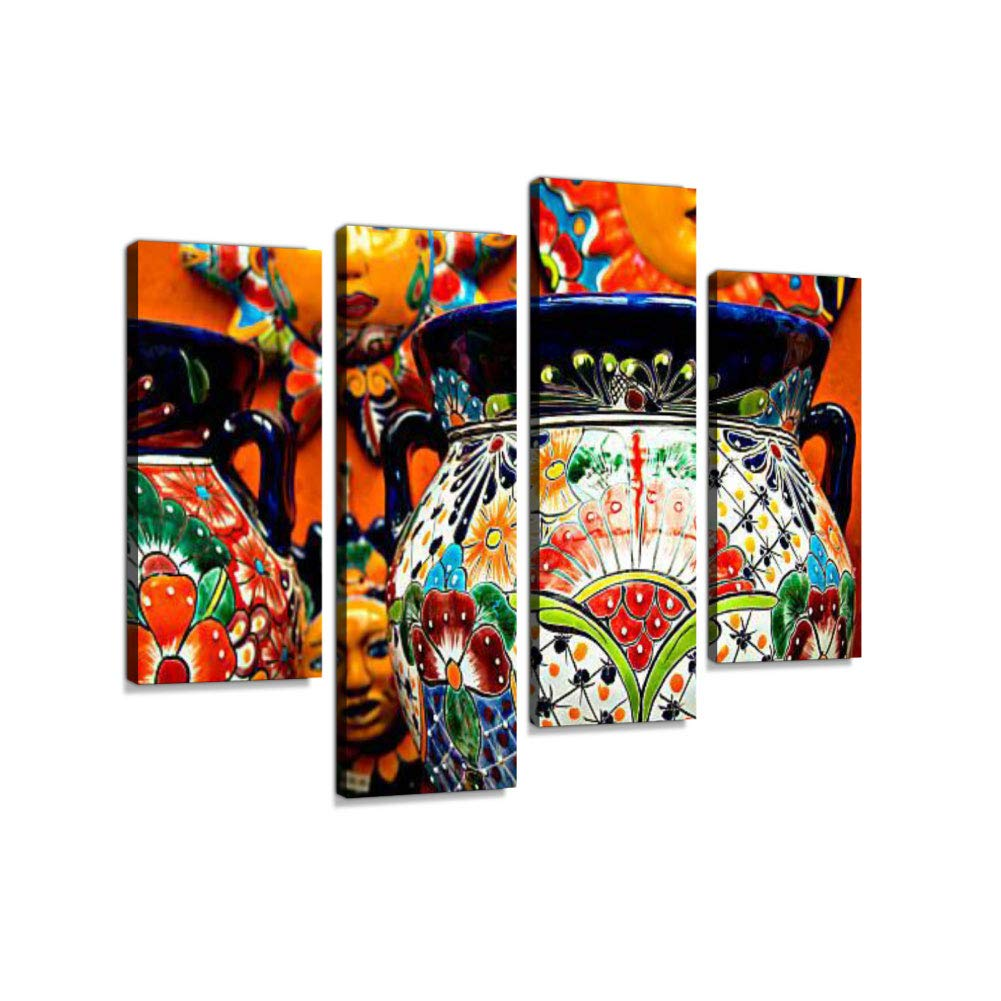 Mexican Folk Ceramic Pottery in CancunCanvas Wall Art Hanging Paintings Modern Artwork Abstract Picture Prints Home Decoration Gift Unique Designed Framed 4 Panel