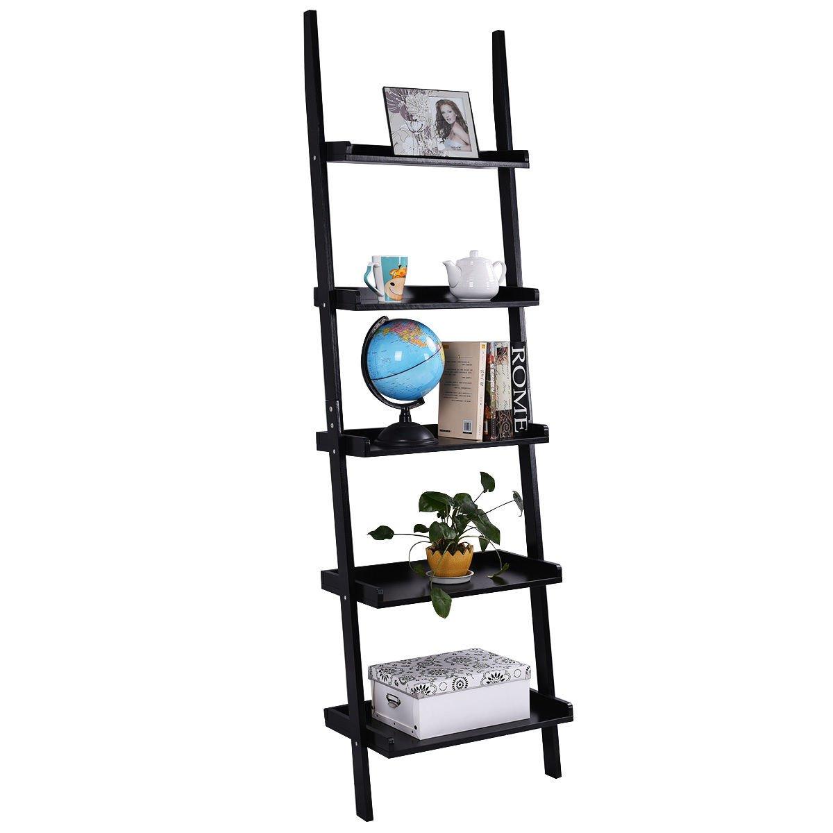 TANGKULA Ladder Bookcase 5-Tire Wood Leaning Shelf Wall Plant Shelf Ladder Home Office Modern Flower Book Display Shelf Storage Rack Stable A-Frame Wooden Ladder Shelf (Black)