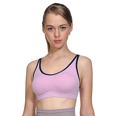 ACtex Femmes Wirefree Workout Stretch Strap Sport Soutien-Gorge Croix Dos Avec Pads Amovible Coupe Transparente Lotus Violet Petit