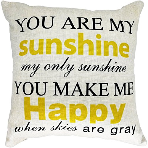 Arundeal 18 x 18 Inch Decorative Cotton Linen Square Throw Pillow Cases Cushion Cover with Quote You are My Sunshine