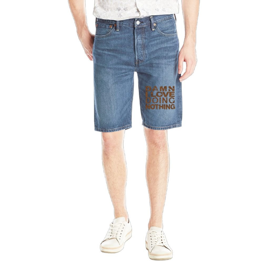 Damn I Love Doing Nothing Mens Casual Short Denim Jean Pants Cool Casual Jeans Trousers RoyalBlue