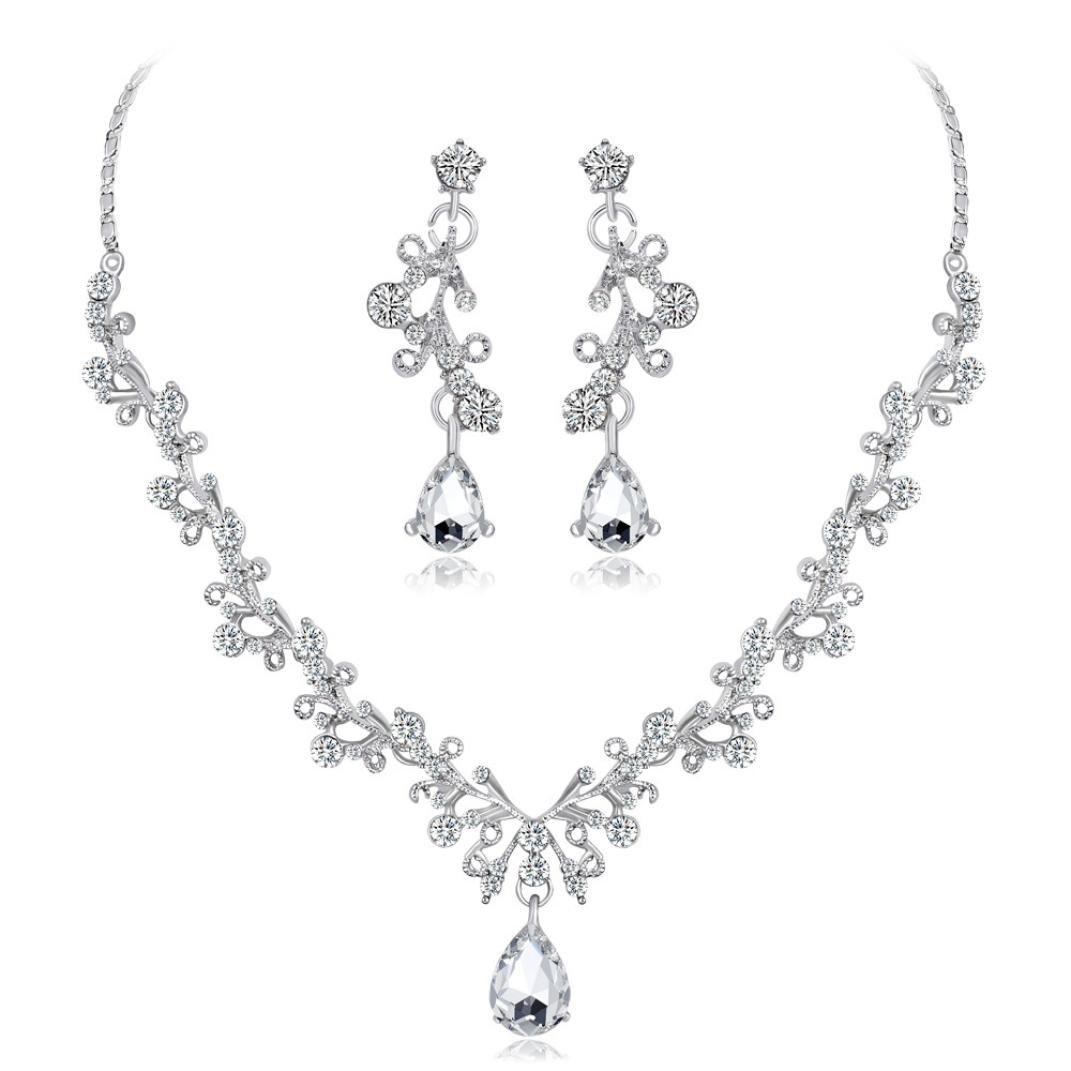 Paolian Mariage bijou Collier Cha/îne en Strass pendentif Boucles Bijoux de mode pour la partie de mariage
