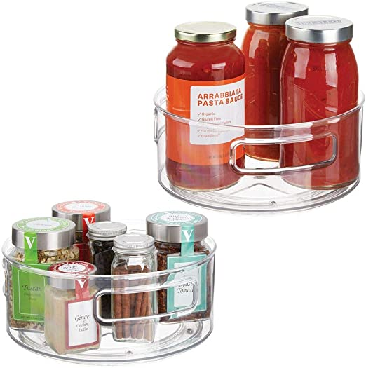 Turntable Lazy Susan Organizer Bins for Kitchen Pantry Clear Pack of 2