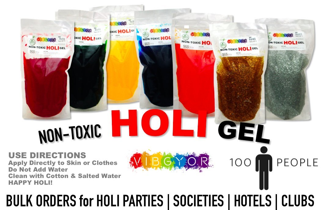 Buy Cero Non Toxic Holi Colour Gel [7 Colours, 250gm Each] 100 ...