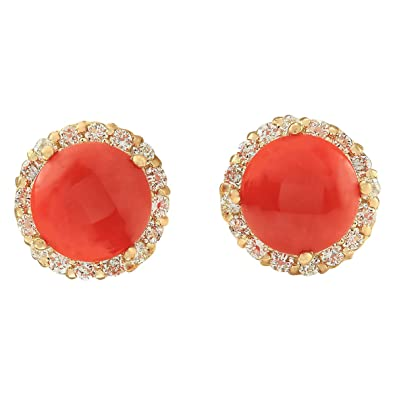 749355b879a6af 3.65 carati naturale corallo giallo oro diamante orecchini per le donne e  Oro giallo, colore