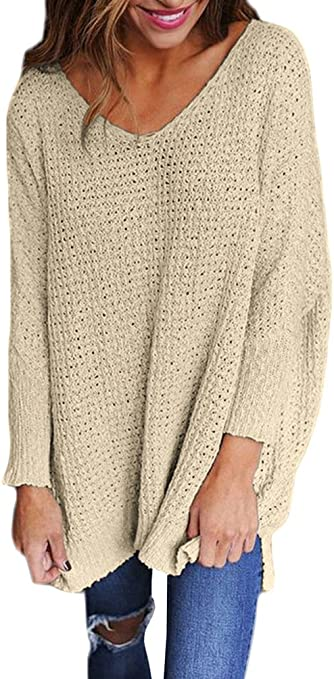Jerseys de Punto Mujer Sueter Tejido Señora Suéter Mujeres Jersey Oversize Largo Sweaters Largos Sueteres Tejidos Dama Pullover Gordos Sweater para Damas Jerséis Ancho Tejer Sueter Cuello en V