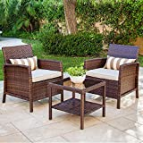 Solaura 3-Piece Outdoor Furniture Brown Wicker Bistro Set Light Brown Cushions & Classic Gold Stripe Throw Pillows Coffee Table