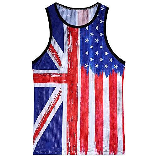 Respctful✿USA Flag Clothing,Men American Flag Stripes Stars Tank Top Shirt Summet Quick Dry Sleeveless Blouse Camis Tee Blue ()