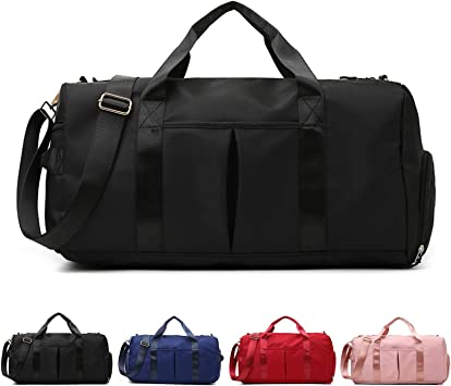 Black Sports Gym Bag For Men and Women Travel Duffel bag with Wet Pocket and Shoes Compartment Sports Duffel Bag