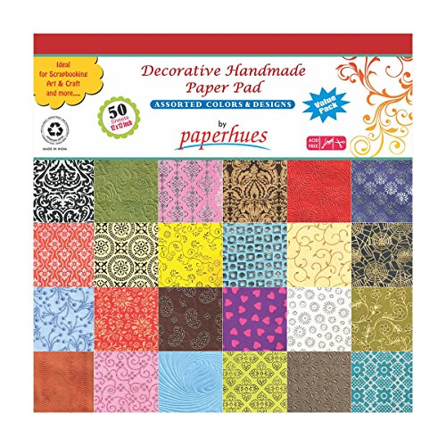 Paperhues Decorative Scrapbook Papers 12×12 Pad, 50 Sheets, Assorted Colors. Forever Collection. Specialty Handmade Origami Papers for Gift Wrap, Scr…