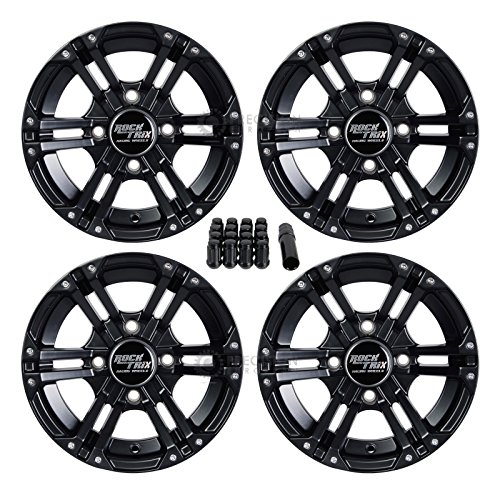 4pc 12″ RockTrix RT101 ATV Wheels 4×110 Rims | 12×7 | 5+2 F/2+5 R Offset | includes 10×1.25 Spline Lug nuts | SRA – Honda Foreman Rancher Fourtrax Rubicon Suzuki Vinson Solid Rear Axle 4/110