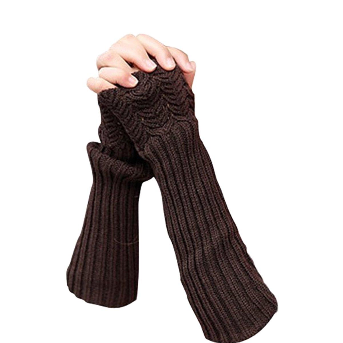 TININNA Chaud Gants dhiver Thermiques Tricot Laine de sans Doigt Gloves pour Femme