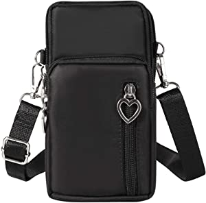 eMorevalue Small Cell Phone Purse Pouch Travel Crossbody Bag Wristlet Armband with Shoulder Strap for iPhone 11 Pro Max/Galaxy S20 Ultra S20 Plus/LG V60 ThinQ Stylo 6, 5 Moto G Power Stylus(Black)