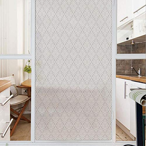 Decorative Window Film,No Glue Frosted Privacy Film,Stained Glass Door Film,Symmetrical Floral Motifs with Victorian retor Tile Design Abstract Flourish Theme Decorative,for Home & Office,23.6In. - Glass Window Stained Victorian Flourish