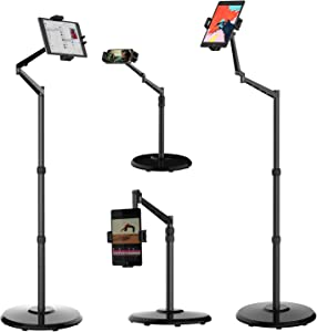 Smatree Cellphone & Tablet Floor Stand, 360 Degree Rotating with Height Adjustable Stand Compatible with 4.7-12.9inch iPhone,iPhone 12/12 Pro, iPad Mini, iPad Air, iPad Pro, Kindle, eBook Reader