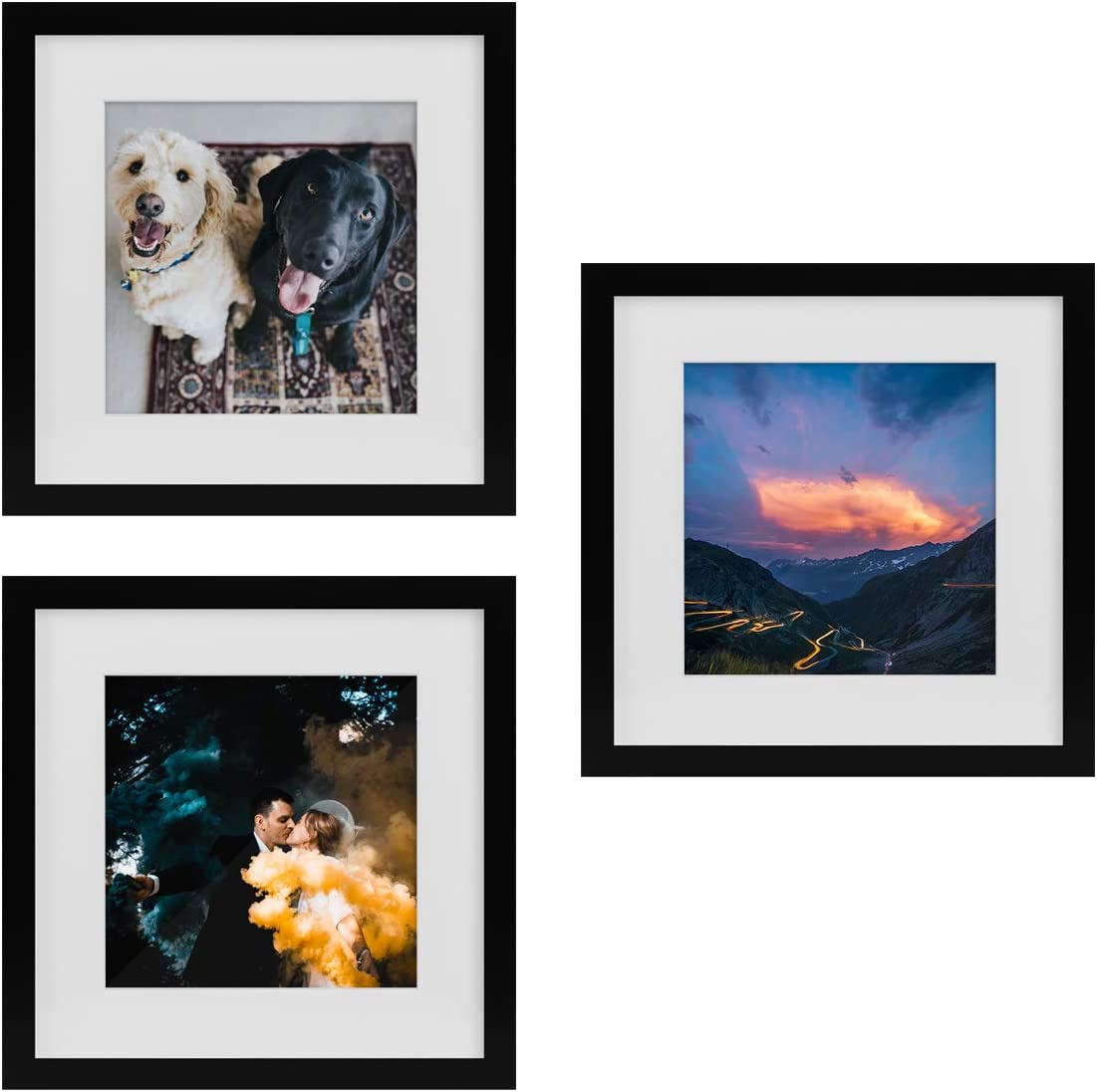 Tiny Mighty Frames - Wood Square Photo Frame, 11x11 (8x8 Matted) (3, Black)