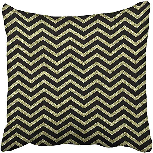 Starosa Throw Pillow Covers Cases Decorative 18x18 inch Masculine Papers Chevron Black and Gold Bright Chic Classic Curved Diamonds Elegant Two Sides Print Pillowcase Case Cushion Cover ()