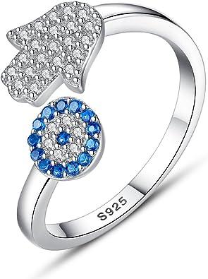 Hamsa Ring Silver Hamsa Hamsa Ring HAMSA Eye Ring Hamsa Jewelry Simulate Diamonds Blue Eye Hamsa Charm Gold Hamsa