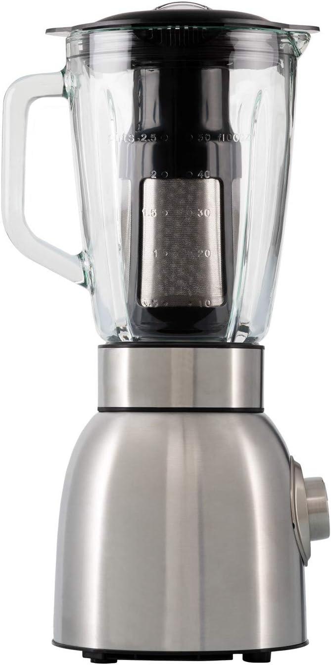 IKOHS KRUM PRO - Batidora de vaso de cristal, 1250 W, 6 Cuchillas, 5 Velocidades, Jarra de 1, 8 L cristal termo-resistente, Bate, Tritura, Picahielo, Función Turbo, Diseño Exclusivo, Color Gris: Amazon.es