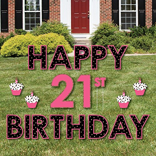 (Big Dot of Happiness Finally 21 Girl - Yard Sign Outdoor Lawn Decorations - Happy 21st Birthday Yard Signs)