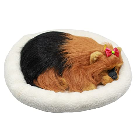 Perro cachorro que respira Peluche de juguete con cama, 26cm (Crisantemo)