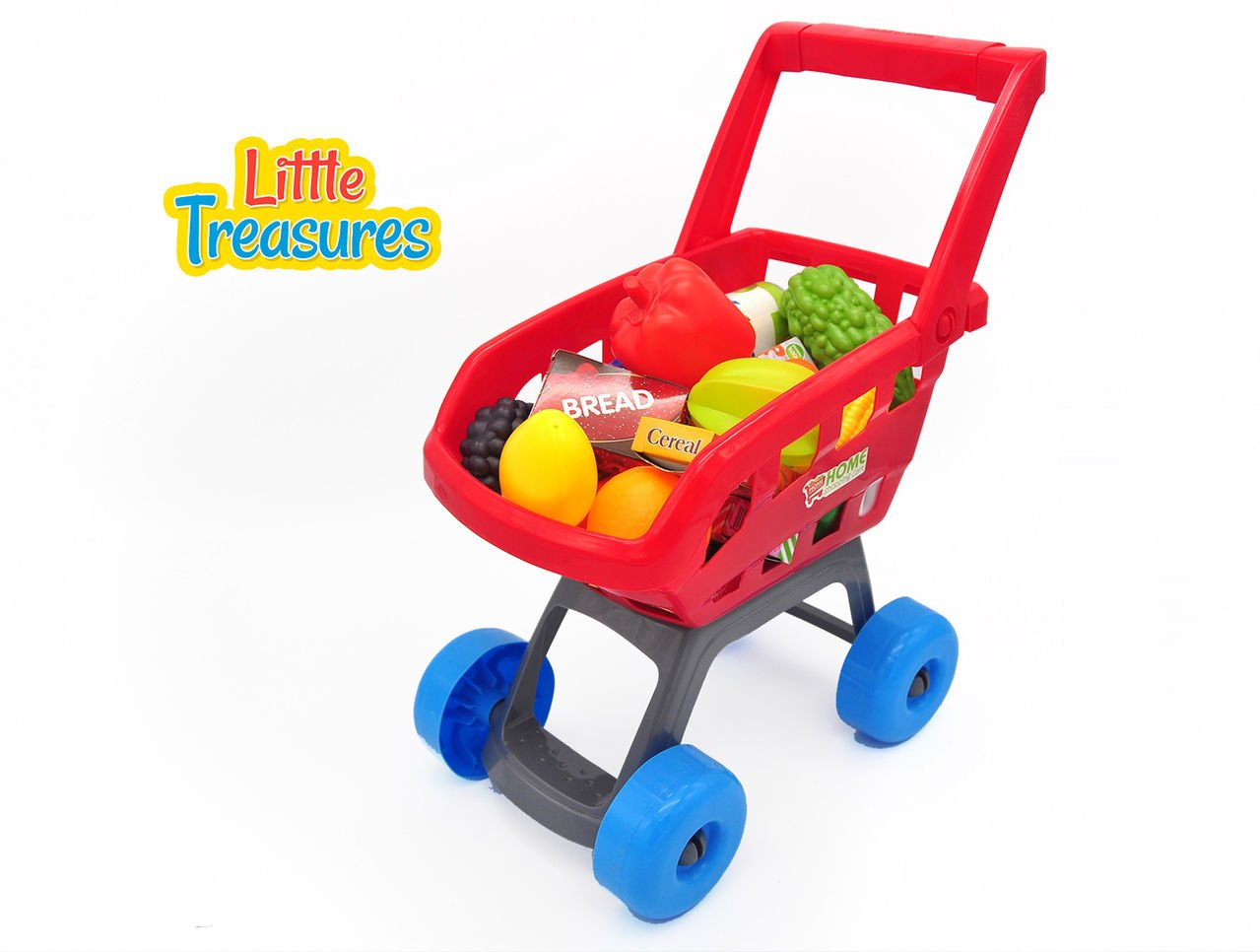 Little Treasures Small Home Shopping Cart grocery Supermarket Playset with 22 Accessories for kids Ages 3 and Up fun pretend play for boys and girls
