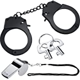 Gooder Metal Handcuffs with Key and Whistle Police Role Play Party Supplies Cosplay Costume Accessory Pretend Play Hand Cuffs for Kids and Adult Toys (Black)