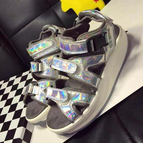 Sandals Leisure straps Muffler With Shoes Sandals Xing Shoes Velcro Red Silver three Leather Thick Silver Rocking Summer Lin HUFFyRqB