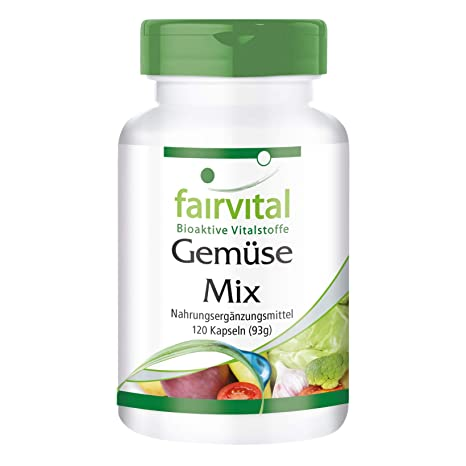 Verduras puras - VEGANO - Altamente dosificado - 120 cápsulas - 10 variedades vegetales - ¡Calidad Alemana garantizada!