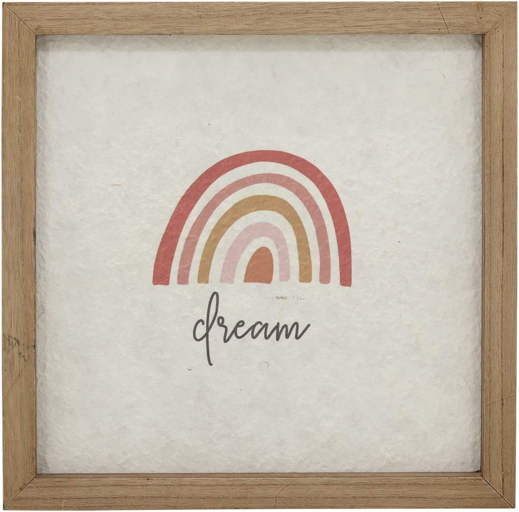 Dream Rainbow Decorative Wood Framed Wall Art Plaque with Textured Paper, Rustic Wood Wall Hainging Decor for Living Room, Bedroom, 15.75 x 15.75 Inches