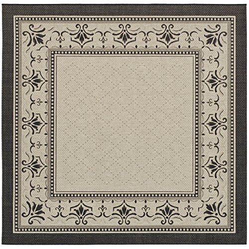 Safavieh Courtyard Collection CY0901-3901 Sand and Black Indoor/ Outdoor Square Area Rug (6'7