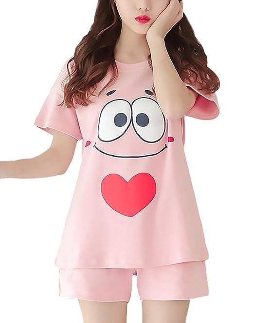 Pijamas Mujer Verano 2 Piezas Conjunto Manga Corta Cuello Redondo Anime Estampado Dulce Lindo Ropa De