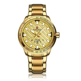 5bc63f44590f NAVIFORCE 9090 (All Gold) Men s Sports Waterproof Stainless Steel Week  Calendar Display Quartz Watch