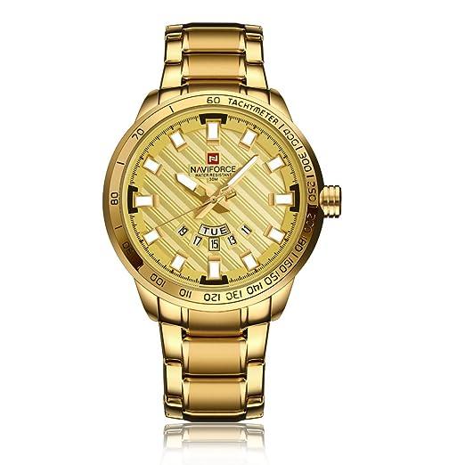 Naviforce reloj 9090 (todo el oro) de los hombres del deporte del acero inoxidable impermeable Semana pantalla de calendario reloj de cuarzo: Amazon.es: ...