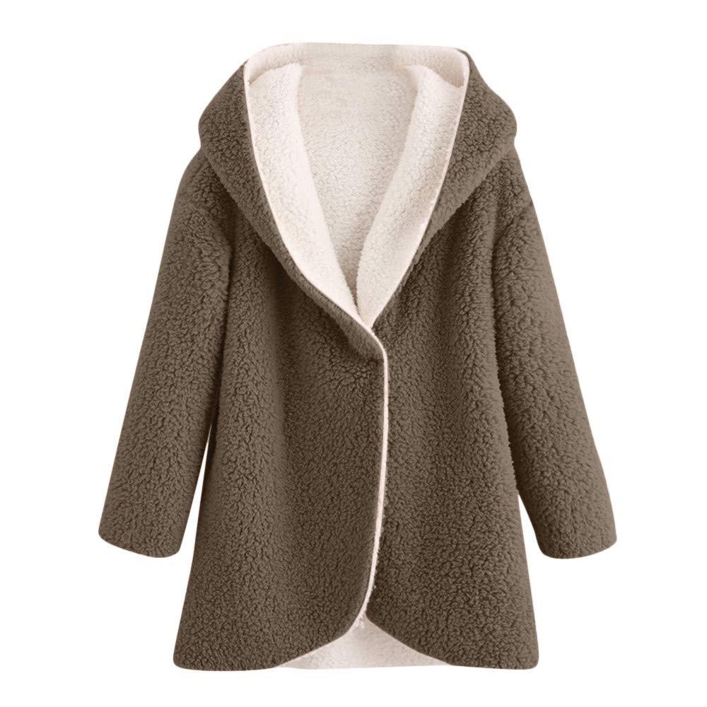 vpass Women's Winter Warm Overcoat Loose Cardigan Parka Curved Hem Pullover Longline Faux Fur Sherpa Fleece Hoodie Coat Jacket