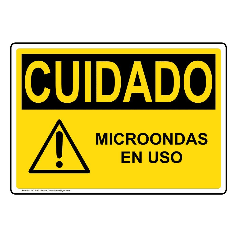 Caution Microondas En USO OSHA Safety Sign, 14x10 in ...