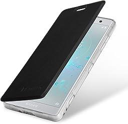 StilGut Book Type Berlin, Housse Sony Xperia XZ2 Compact en cuir de qualité et en TPU avec porte-cartes. Étui flip-case de protection à ouverture latérale avec blockage RFID (RFID/NFC blocker), noir/transparent