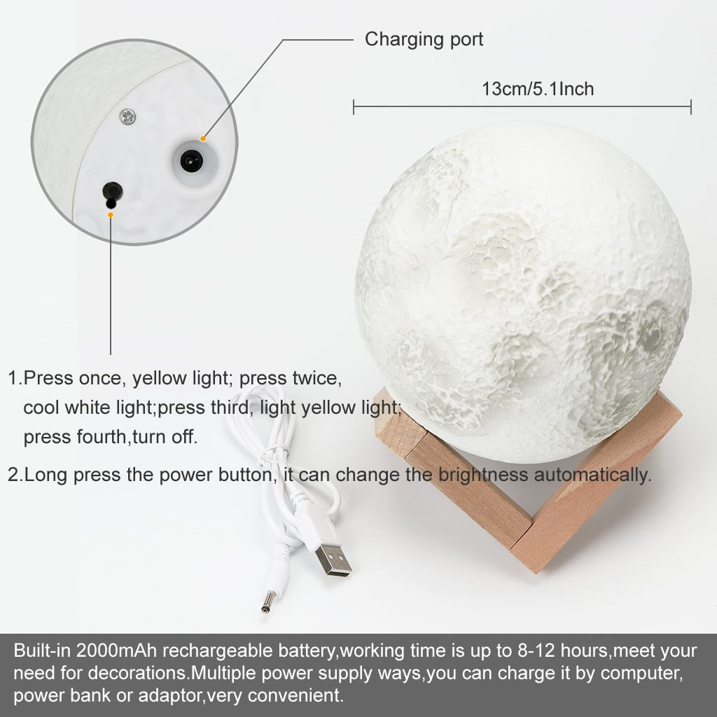 Jarvan 3D Printing Moon Lamp, USB Rechargeable 3 Color Change Touch Switch Home Decor Gift Bedroom Night Light (13cm/5.1inch) by Jarvan (Image #2)