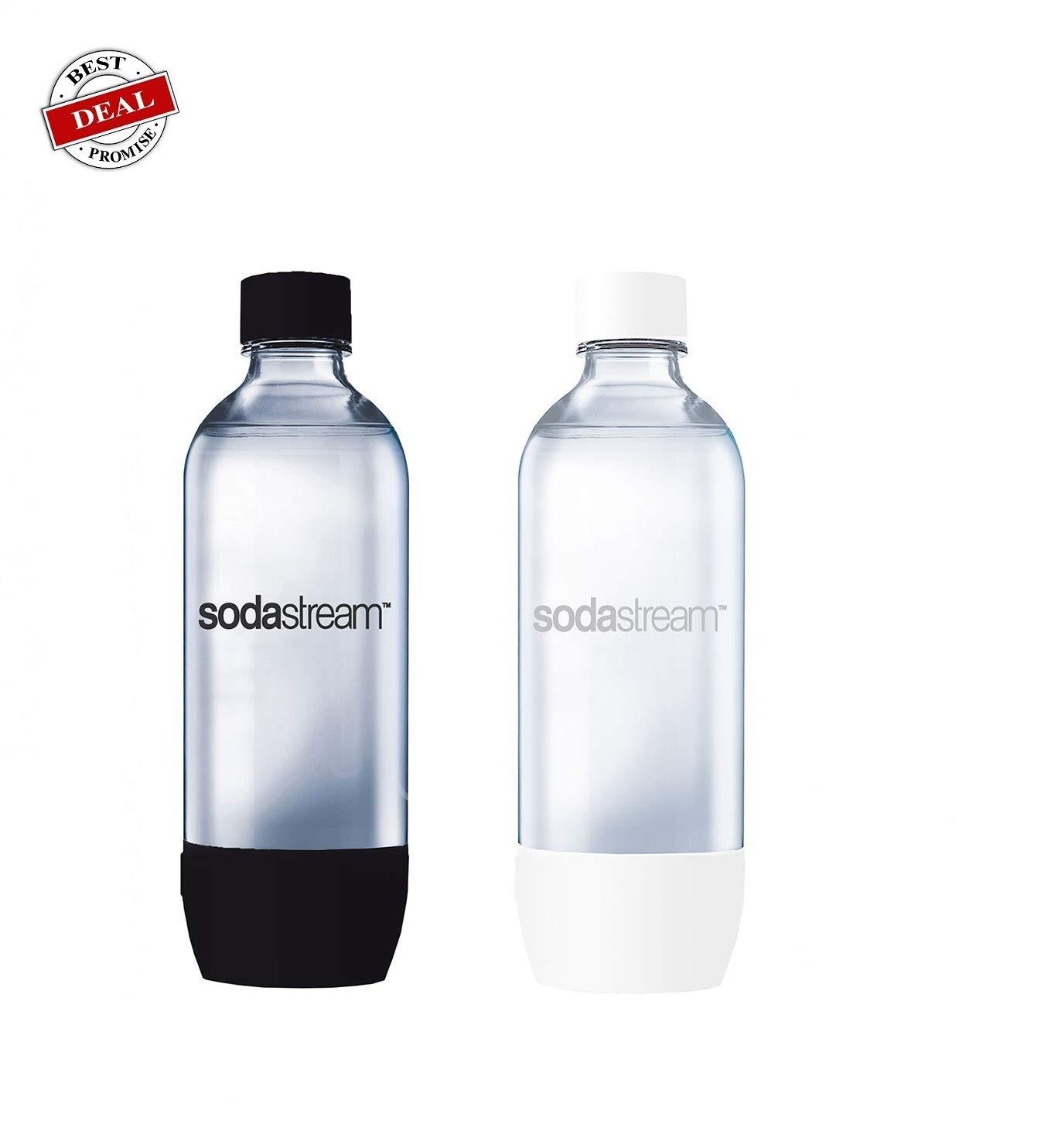 Soda stream 1-Liter Carbonating Bottles- Black&white (Twin Pack)