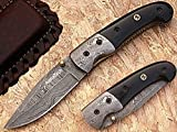 Heavy Folding Knife Damascus Steel Blade
