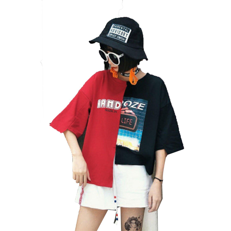 the latest 21629 cbb09 T Shirt Women Summer Top t-Shirt Streetwear Hip Hop Patchwork Tshirt Korean  Style Plus Size Women Clothing