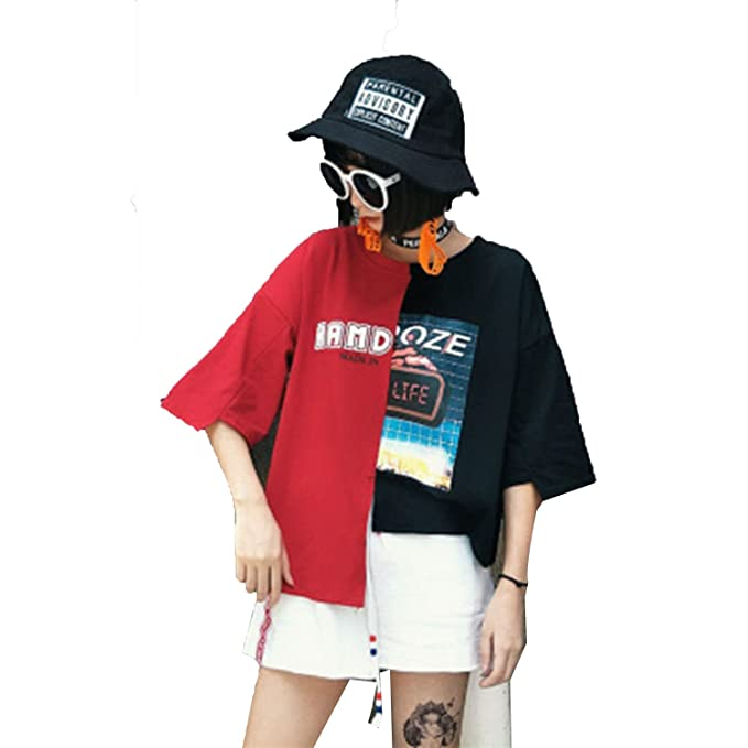9048a232 T Shirt Women Summer Top t-Shirt Streetwear Hip Hop Patchwork Tshirt Korean  Style Plus Size Women Clothing at Amazon Women's Clothing store: