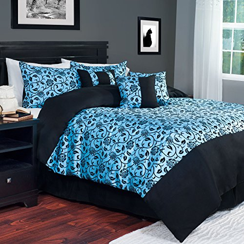 outlet Lavish Home 7-Piece Victoria Damask Comforter Set, Queen